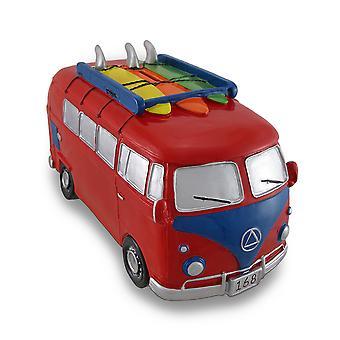 Rød / blå Surfer Van stor sparegris Bus