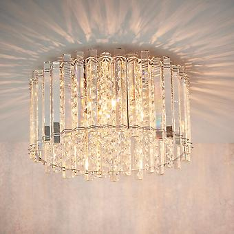 Endon Collection  Hanna Four Light Semi-Flush In Chrome And Clear Crystal Glass