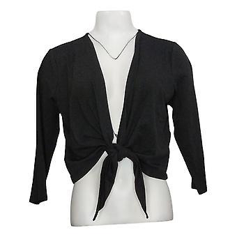 Denim & Co. Dames Sweater Jersey 3/4 Sleeve Self Tie Shrug Zwart A375267