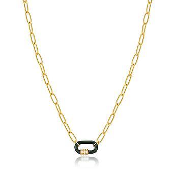 אניה היי פורסט ירוק אמייל קרבינר שרשרת זהב N031-01G-G