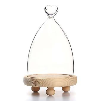 Glass Dome Wooden Base Cloche Bell Jar Display Stand Micro Landscape Dried Flower Diy Vase