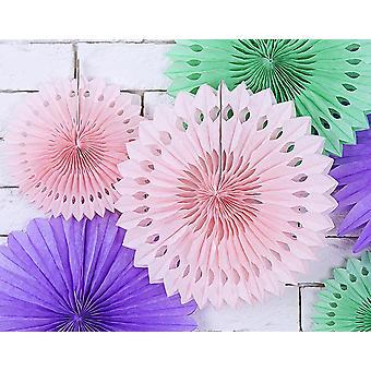 3 Polvo ligero rosa surtido tamaño colgante papel papel decoraciones de papel