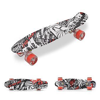 """Byox Kids Skateboard 22"""" Skalle 85A PU LED-hjul ABEC 7-bärande aluminiumaxlar"""