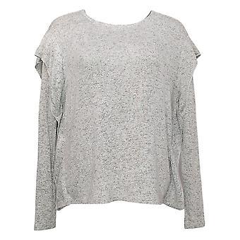 G By Giuliana Women's Top Soft Ruffled Long Sleeve Tee Gray 629181