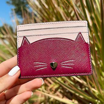 Kate spade meow cat slim card holder blackberry preserve pink multi