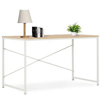 Tietokonepöytä 120x60x70 cm valkoinen ja tammi