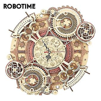 Wooden blocks robotime zodiac wall clock 3d wooden puzzle model