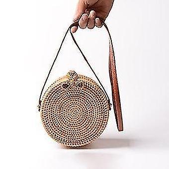 Handgemaakte boheemse geweven rotan zomer schoudertassen met lederen riem (18x8cm) (Rotan Strik)