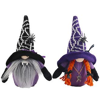 Dwarf Doll Wizard Cappelli Bambole senza volto con ragni per regali di Halloween Ornamenti