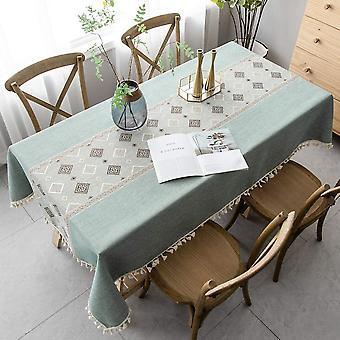 Elegante chinesische Bedruckte Tischdecke, spleißende staubdichte Tischdecke, rechteckige Tischdecke, Gartenteetisch mit Quasten, Esstisch Tischplatte