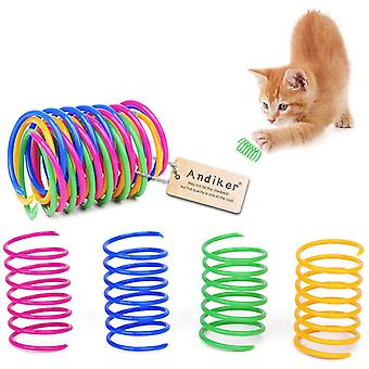 Pet Toy Cat Color Plastic Spring, Soft And Bite Resistant (12 Pieces)