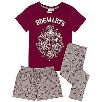 Harry Potter pyjama tytöille   Tylypahkan harja glitter print pitkä tai lyhytjalkainen pyjama  