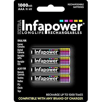 Infapower B002 AAA 1000mAh Ni-Mh Rechargeable Batteries  4 Pack (B002)