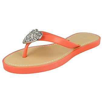 Ladies Savannah Casual Slip On Sparkling Heart Detail Flip Flops F0816
