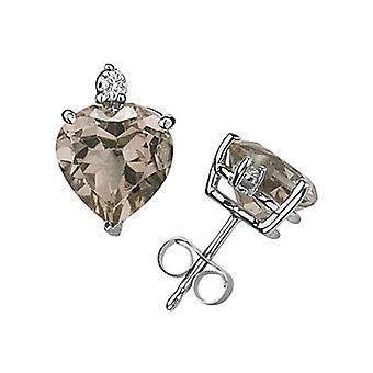 Cuarzo ahumado corte corazón y pendientes del perno prisionero del diamante, 14K oro blanco