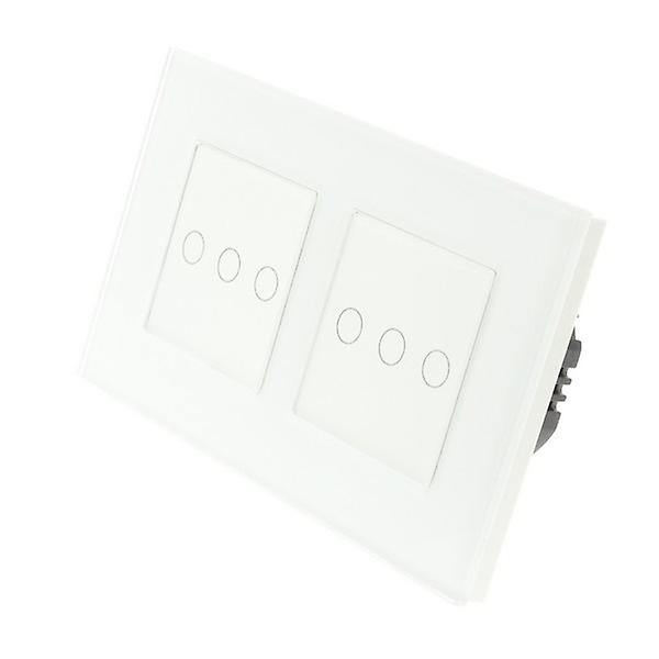I LumoS White Glass Double Frame 6 Gang 1 Way WIFI/4G Remote Touch LED Light Switch White Insert
