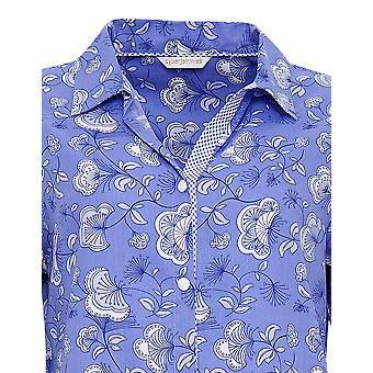 Cyberjammies 3210 kvinnors Vienna Blå blommig bomull och Modal Pajama sovplagg PJs pyjamas topp