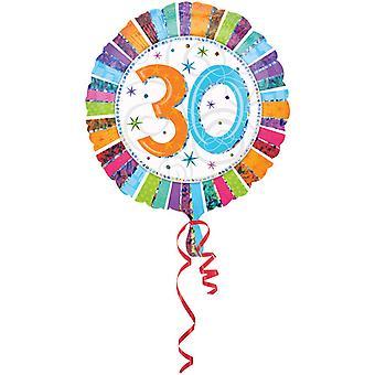 Amscan 18 tums Rainbow Stripe cirkulär folie 30 födelsedag ballong