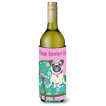 Happy Valentine's Day Pug Wine Bottle Beverage Insulator Hugger