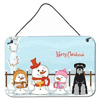 Merry Christmas Carolers Standard Schnauzer Black Grey Wall or Door Hanging Prin