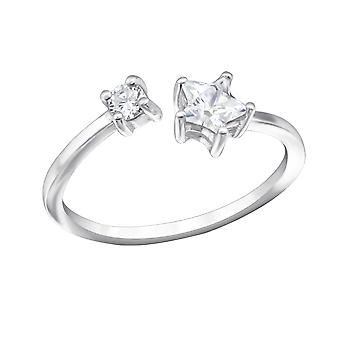 Open Star - 925 Sterling Silver Jewelled Rings - W30974x