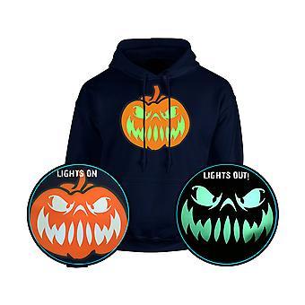 Grinande Jack glöd i mörka Halloween pumpa Unisex Hoodie 10 färger (S-5XL) av swagwear