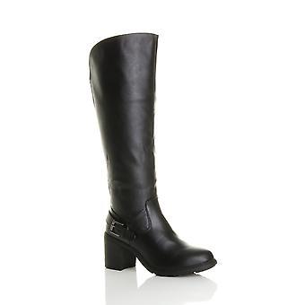Ajvani womens block chunky high heel wide calf zip stretch biker knee boots