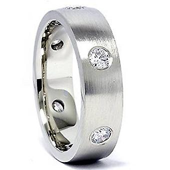 Hombres 14K oro blanco 3 / 4ct diamante boda Band nuevo
