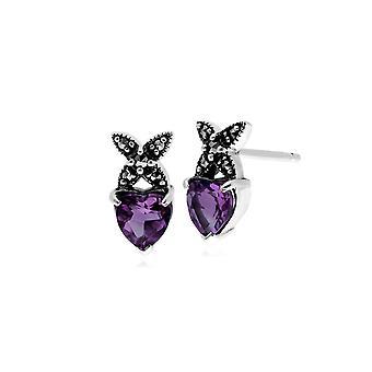 Classic Heart Amethyst & Marcasite Cross Stud Earrings in 925 Sterling Silver 214E725802925