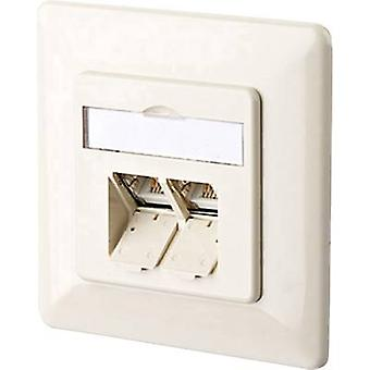 Metz Connect 130C381001-I Network outlet Flush mount Insert with main panel and frame CAT 6A 2 ports Oyster white