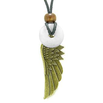 Schutzengel Flügel Schutz Amulett Glück Donut Charm Schneeflocke weißem Quarz Anhänger Halskette
