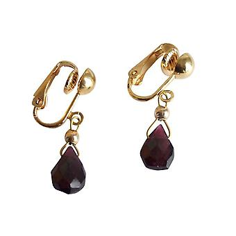 Gemshine Women's Earrings Ear Clips Gold plated Garnet Faceted Red Dukelrot