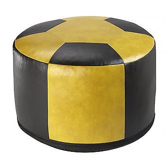 Fußball-Sitzkissen Kunstleder gelb/schwarz-6302901 Ø 50/34 cm