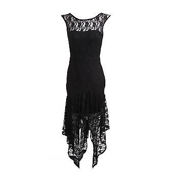 Nieuwe dames mouwloos V Zip terug hoge lage Black Lace Women's jurk