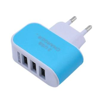Stuff Certified® 3-Pack Triple (3x) USB Port iPhone / Android Wall Charger Wall Charger Blue