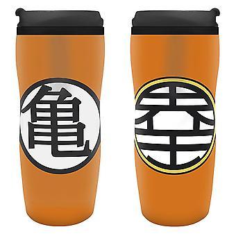 Dragon Ball Z juomalasi KAME logo muki musta/oranssi, painettu muovi, kapasiteetti n. 355 ml...
