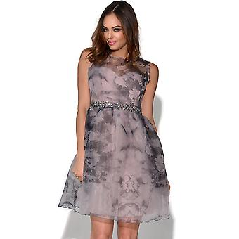 Little Mistress Muted Floral Fit And Flare Dress