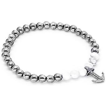 Anchor and Crew Keel Silver and Howlite Stone Bracelet - White/Silver