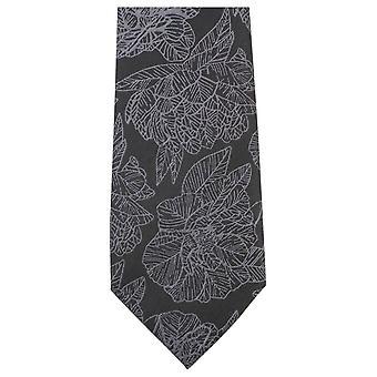 Knightsbridge halsdukar stor blommig Tie - Svart/grå
