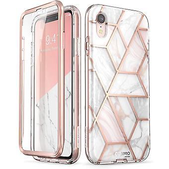 iPhone XR asia [sisäänrakennettu Screen Protector] [Cosmo] koko kehon Glitter puskurin iPhonelle XR 2018 Release (marmoria)