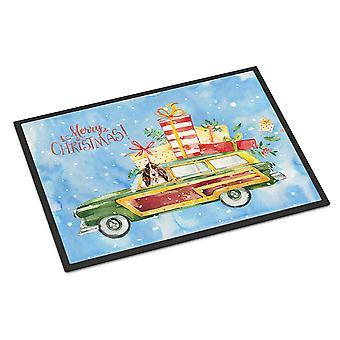メリー クリスマス茶色 Parti コッカースパニエル屋内または屋外マット 24 × 36