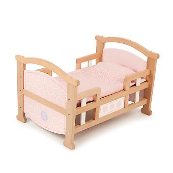 Tidlo 2 in 1 Wooden Doll's Rocking Cradle Bed Doll Accessories Pretend Play