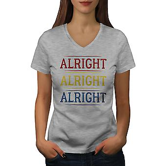 90s Alrigt Quote Women GreyV-Neck T-shirt | Wellcoda
