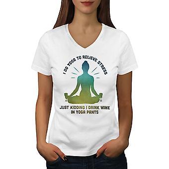 Yoga Wine Mindfulness Women WhiteV-Neck T-shirt   Wellcoda