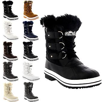 Womens gewatteerde korte Duck bont gevoerde regen Lace Up Muck Snow Winter laarzen UK 3-10