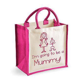Mittlere rosa Jute-Tasche ich werde eine Mumie