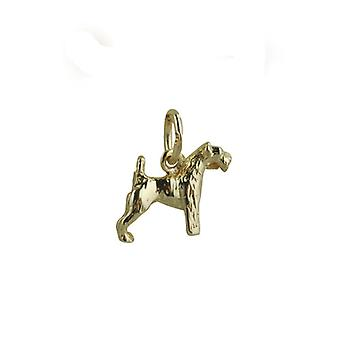9ct Gold 10x12mm Airedale Terrier Pendant or Charm