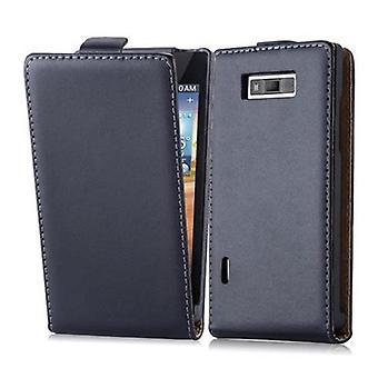 Cadorabo Etui LG OPTIMUS L7 en CAVIAR noir - étui dans la conception flip en cuir lisse art - housse Etui pochette pochette sac livre Klapp style