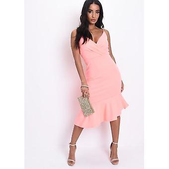 Wickeln Sie vordere Halskrause Fischschwanz Midi Kleid Coral-Pink
