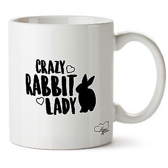Hippowarehouse сумасшедший кролик леди напечатаны Кубка керамическая кружка 10oz